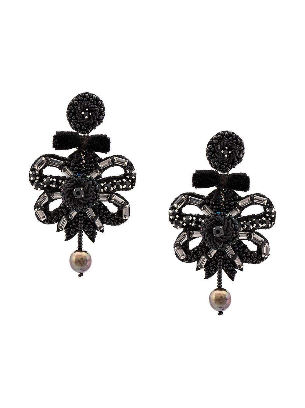 Osiris Black Bow and Pearl Drop Earring