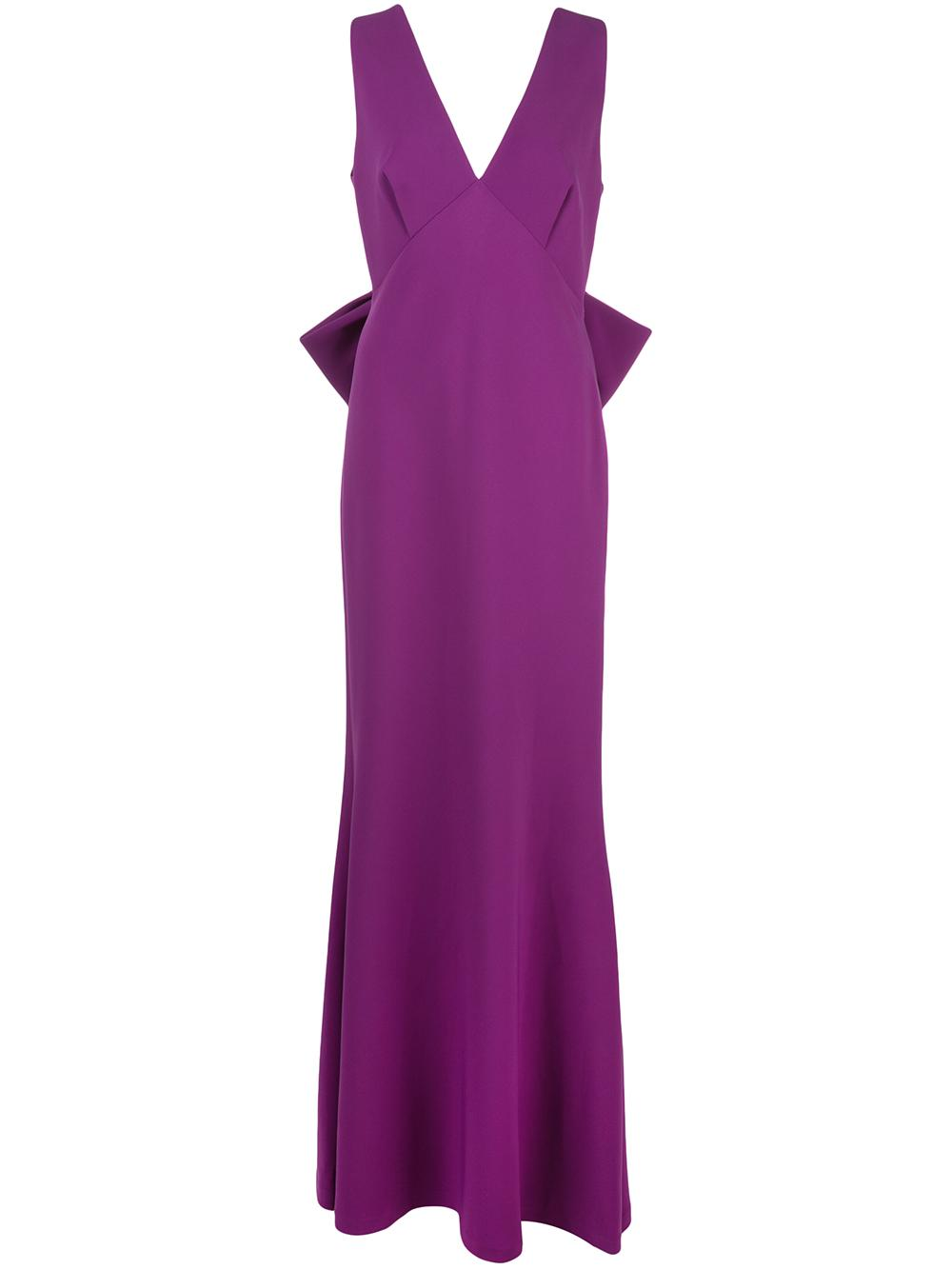 Danalyn Bow Back Stretch Crepe Gown