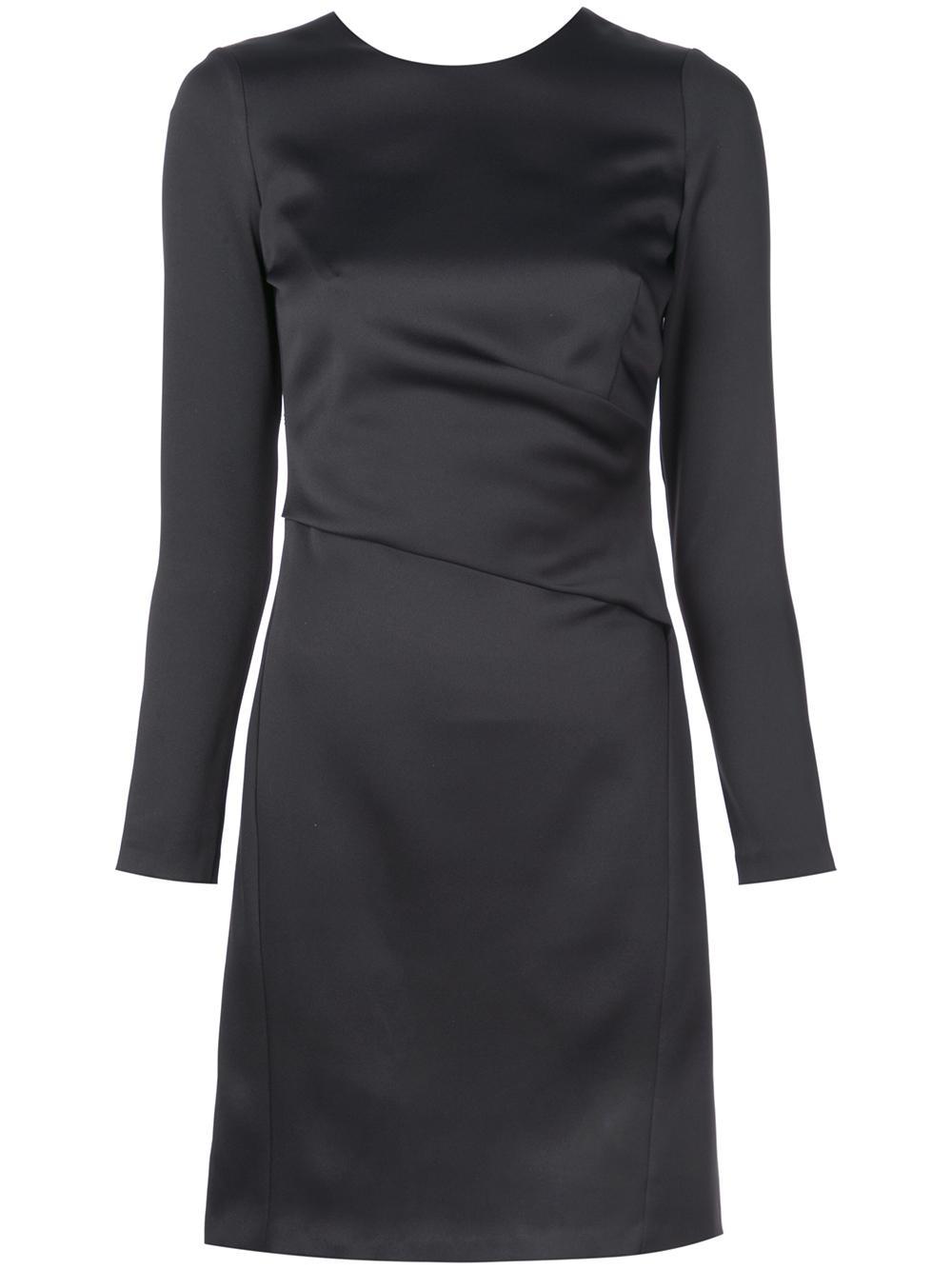 Stretch Crepe Long Slv Shift Dress Item # LW143