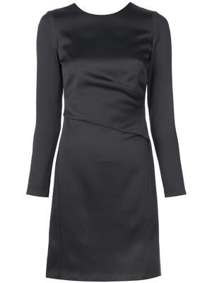 STRETCH CREPE LONG SLV SHIFT DRESS