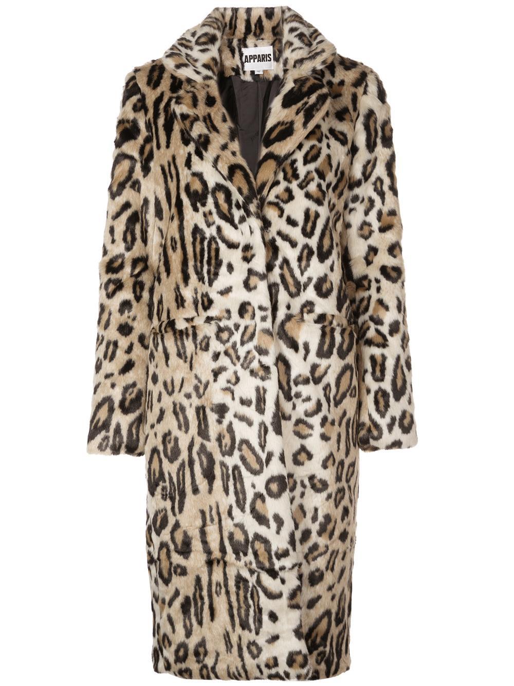 Charlie Long Leopard Faux Fur Jacket