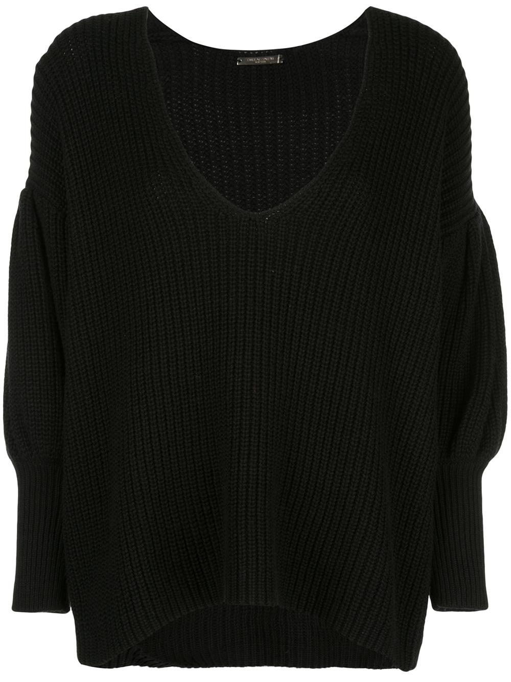 Vee Neck Puff Sleeve Cashmere Sweater