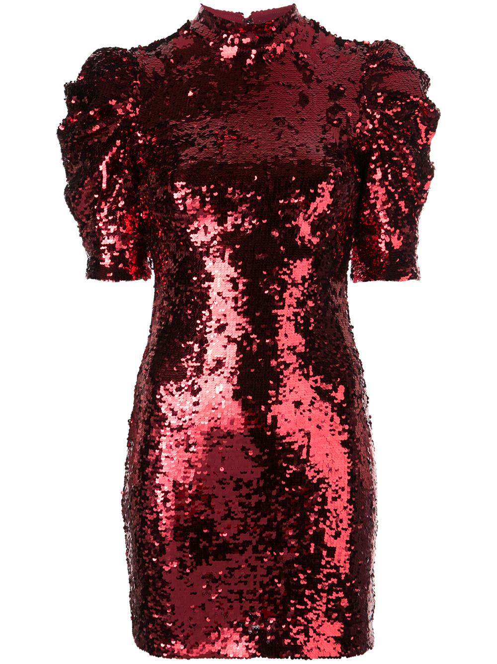 Brenna Sequin Fitted Puff Sleeve Dress Item # CC908E32533