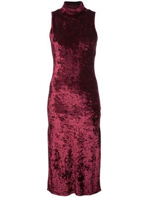 Velvet Turtleneck Sleeveless Midi Dress