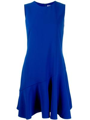 Sleeve Less Crepe Flounce Hem Shift Dress