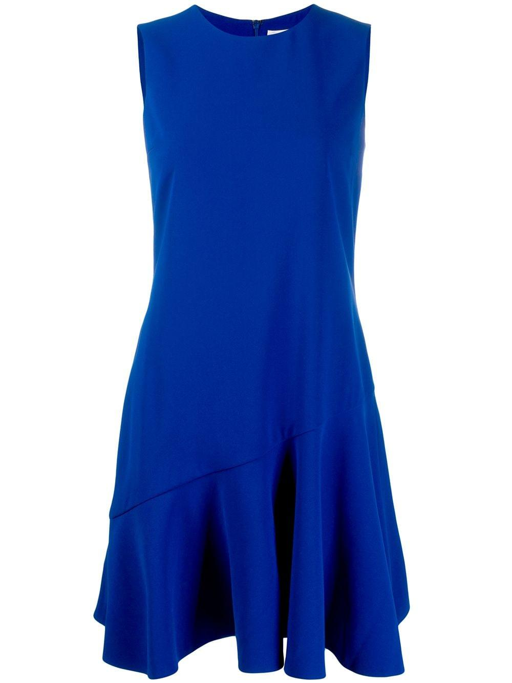 Sleeve Less Crepe Flounce Hem Shift Dress