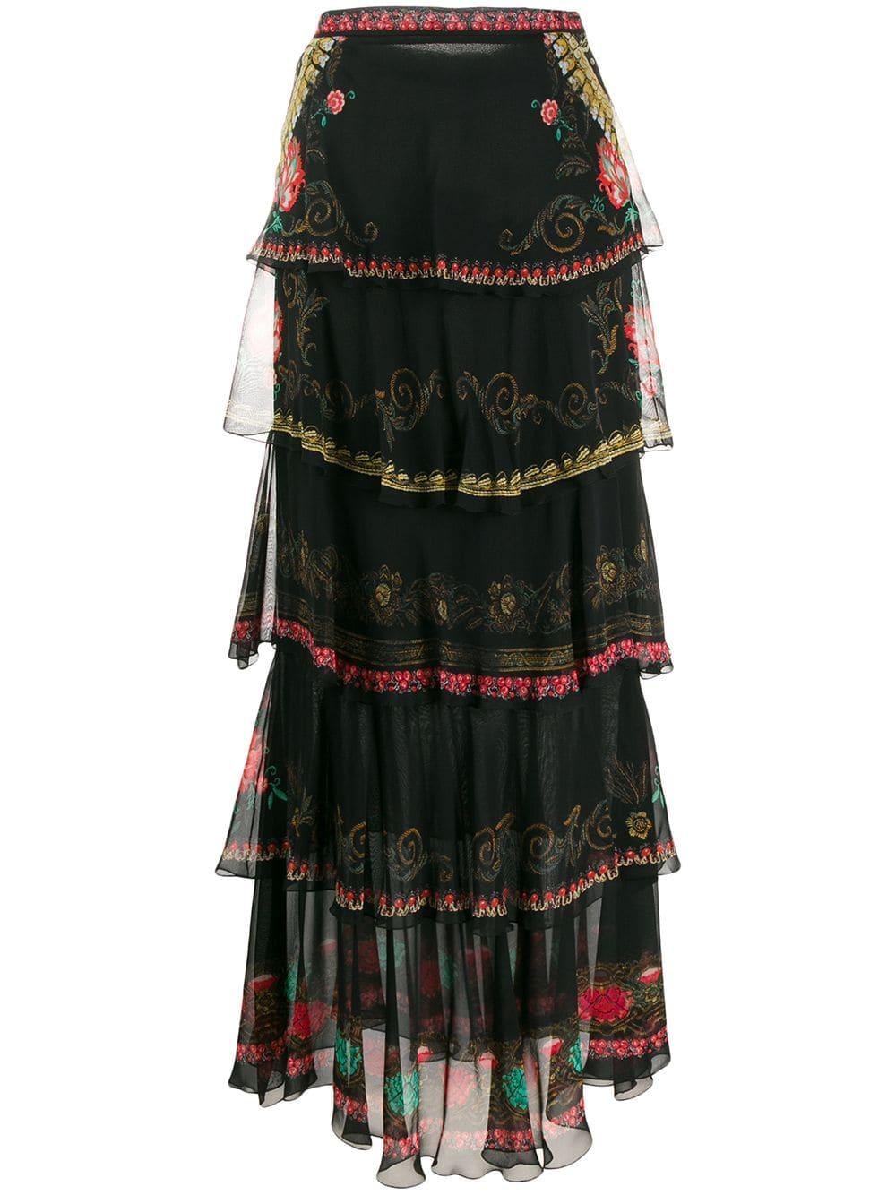 Tiered Multi Print Long Skirt