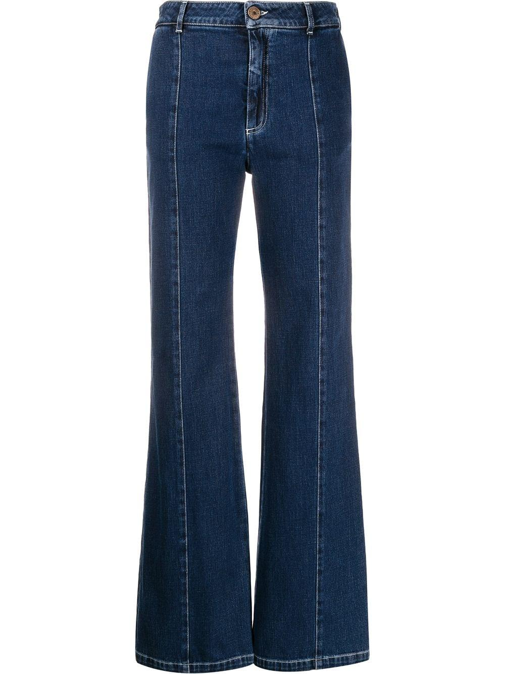 Wide Leg Denim With Front Seam