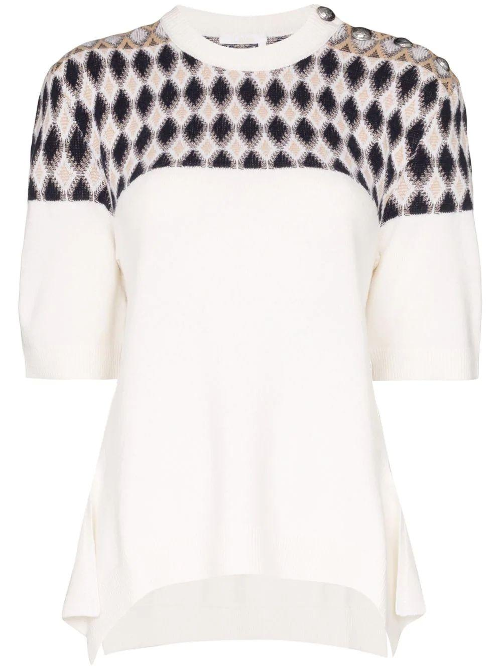 Elbow Sleeve Argyle Jacquard Knit Top