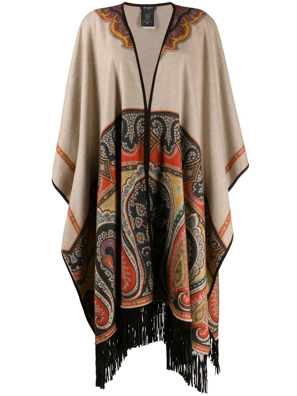 Large Fringe Cape With Suede Trim