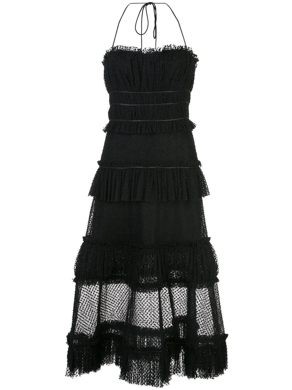 Mesh Layered Midi Dress Item # ANGELIA