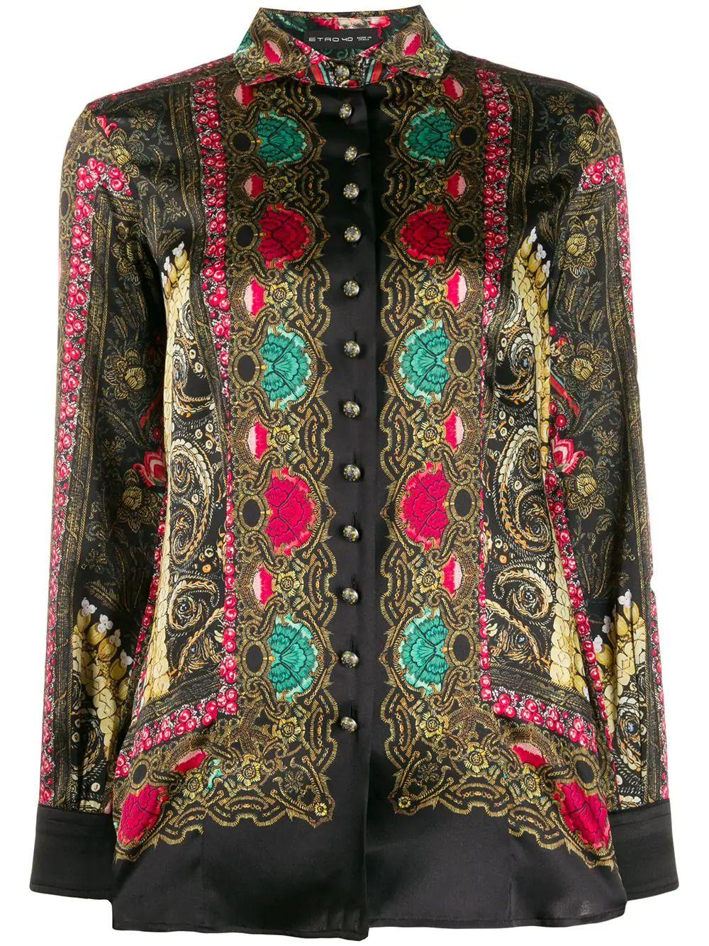 Multi Print Bouse With Gold Buttons.