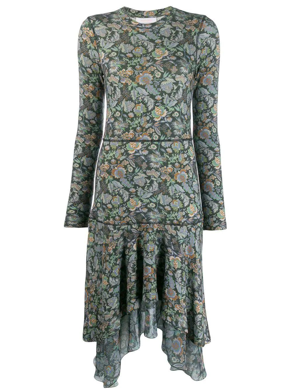 Long Sleeve Floral Print Dress With Asymm Skirt