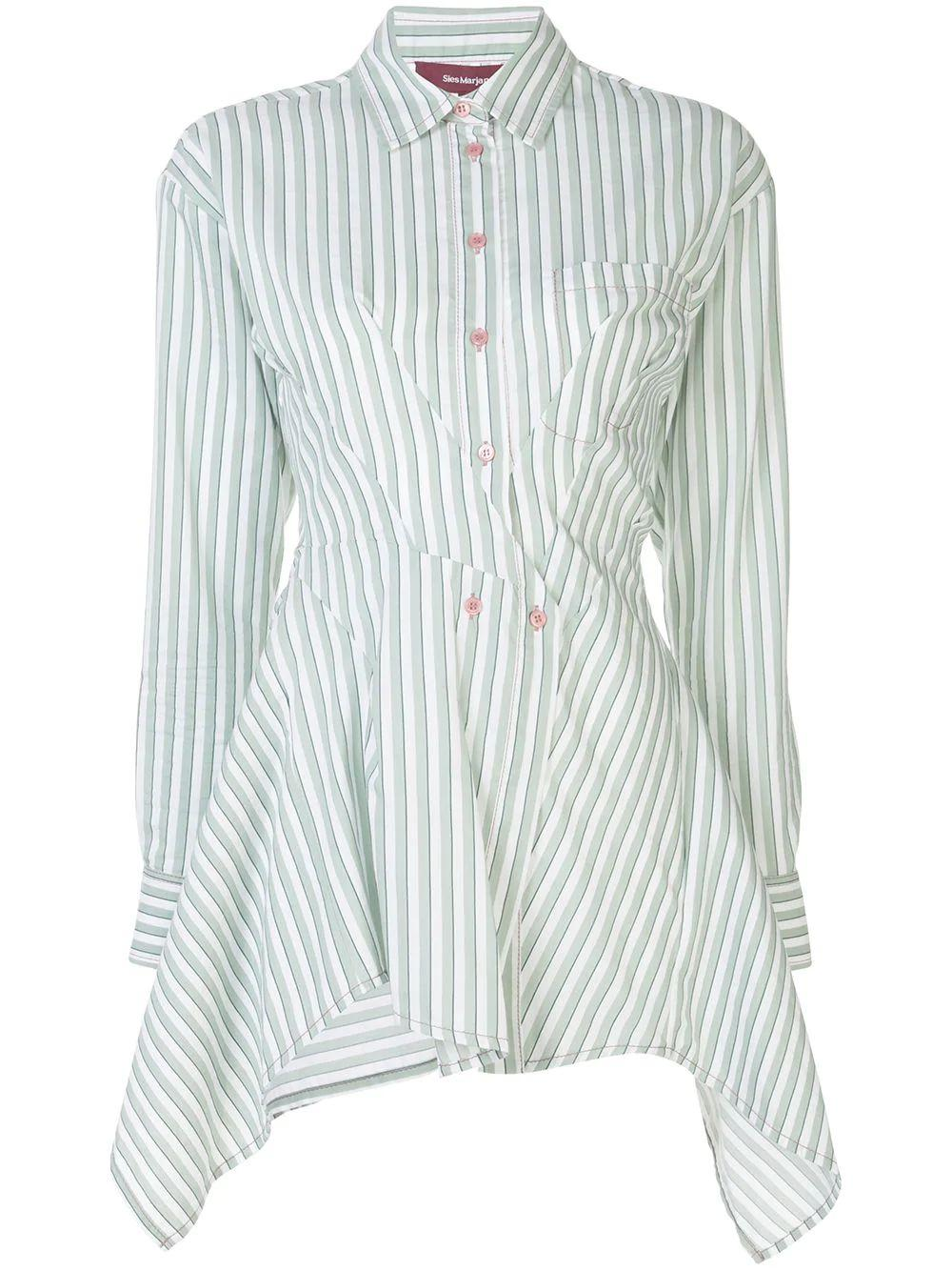 Ainsley Stripe Cotton Long Sleeve Ruched Shirt