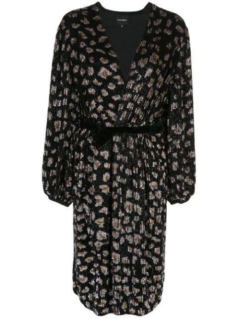 Audrey Long Sleeve Leopard Midi Dress With Belt
