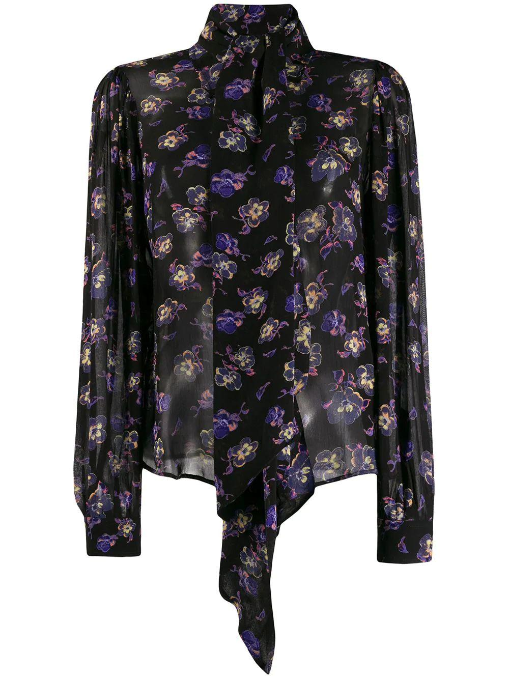 Print Georgette Tie Neck Long sleeve Top