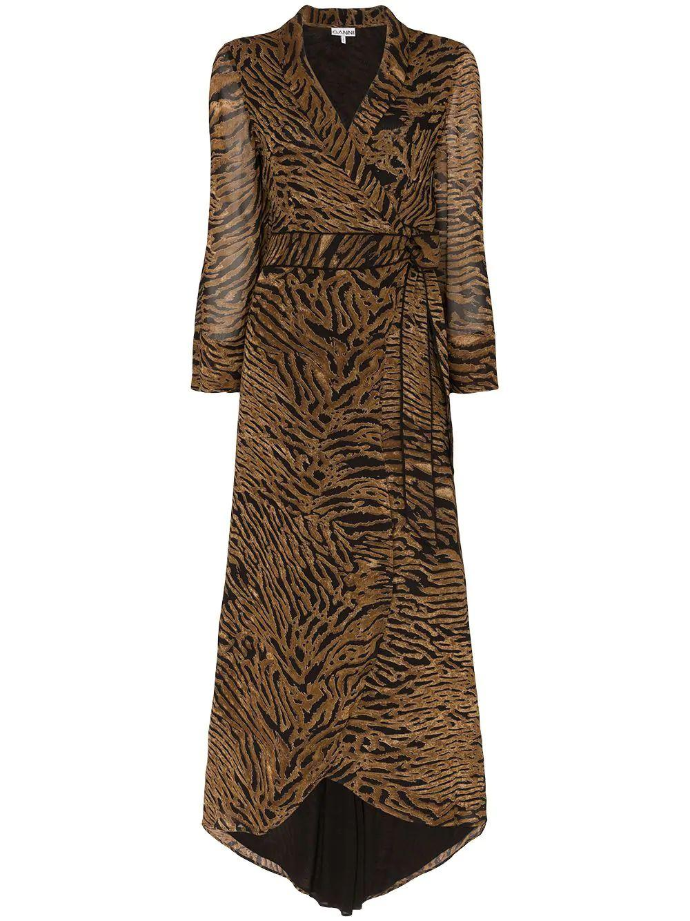 Tiger Print Georgette Wrap Tie Maxi Dress