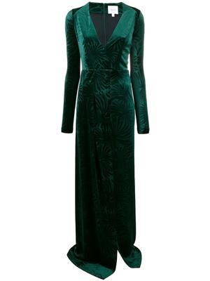 Winter Palm Long Sleeve Velvet Dress