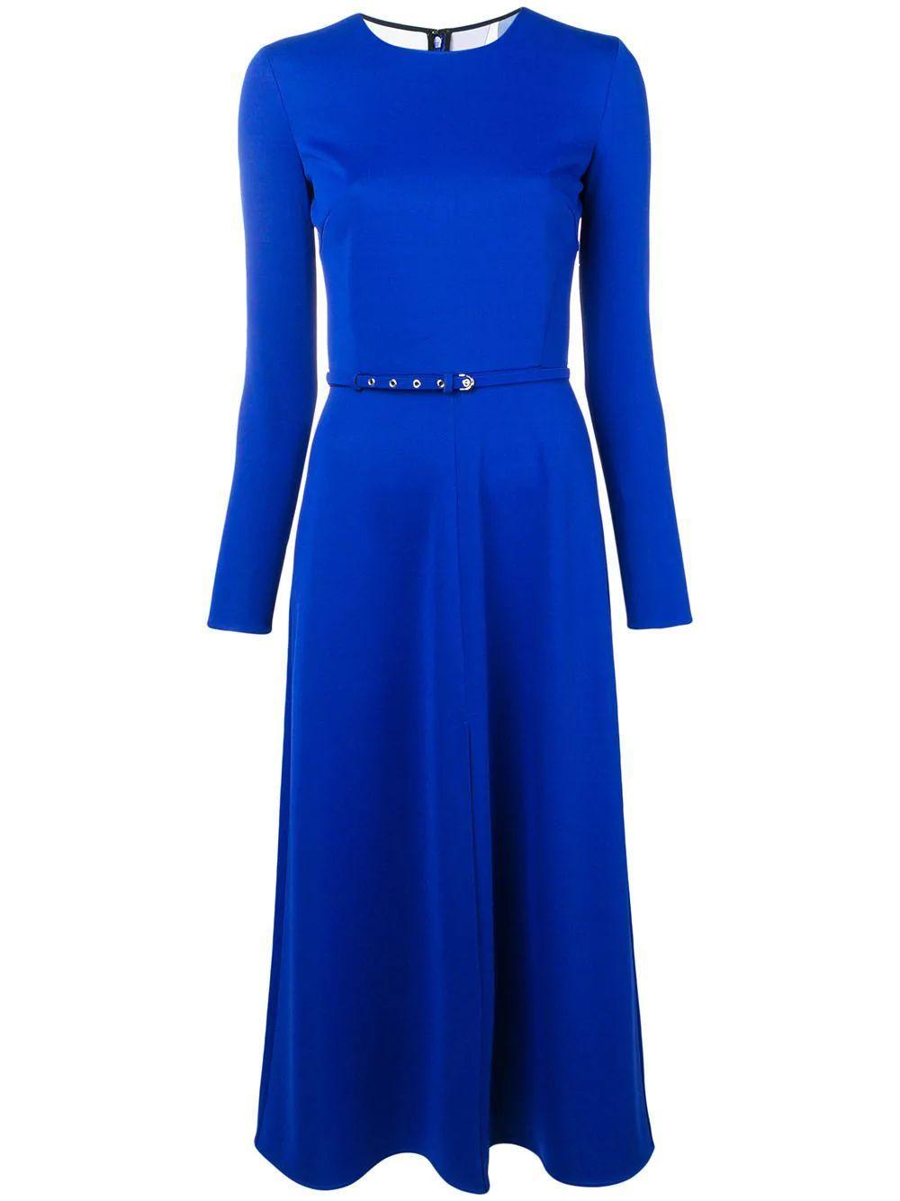 Long Sleeve Midi Dress With Front Slit Item # 9UJH91-9U631
