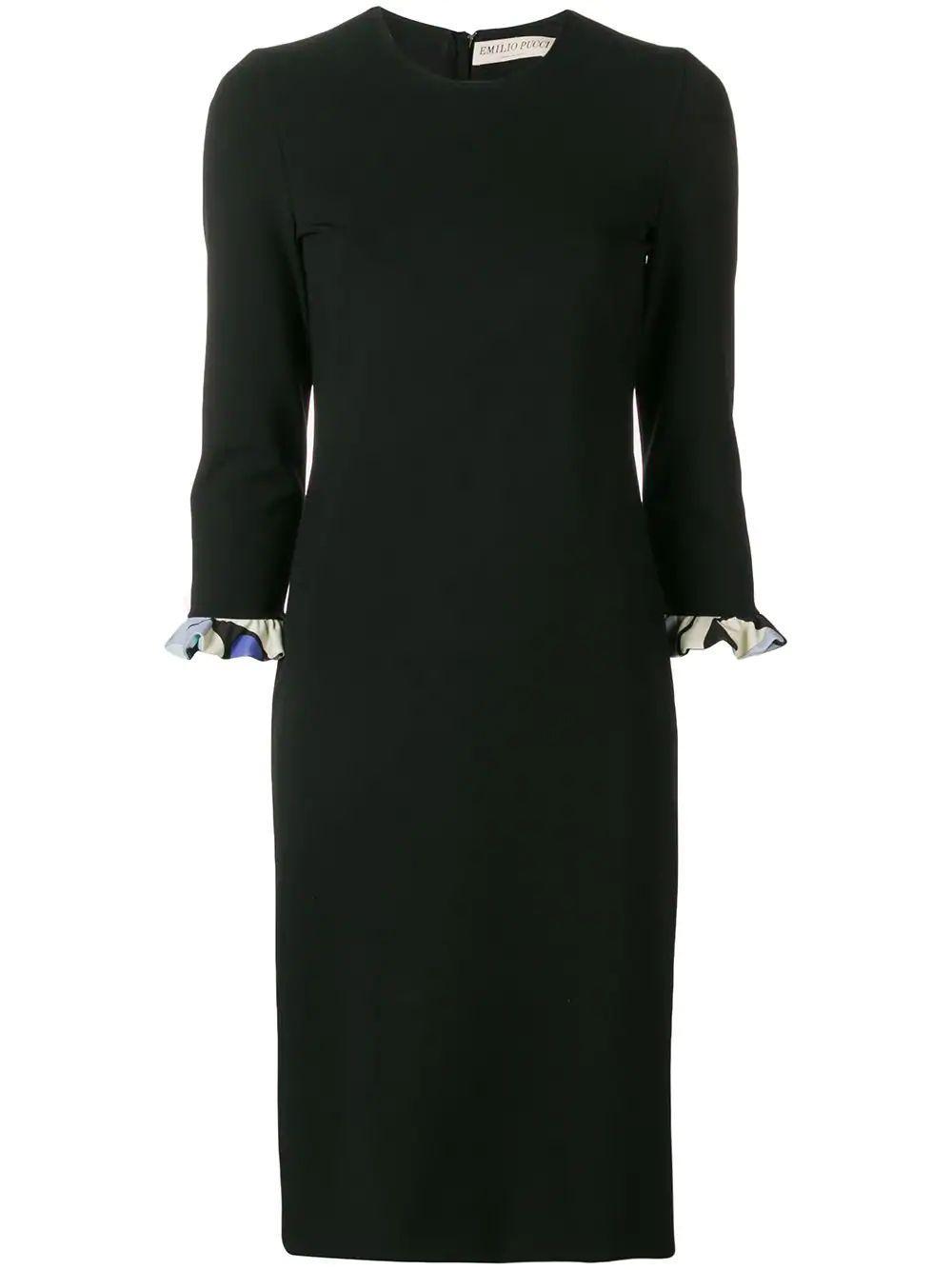 Elbow Sleeve Dress With Print Ruffle Cuff
