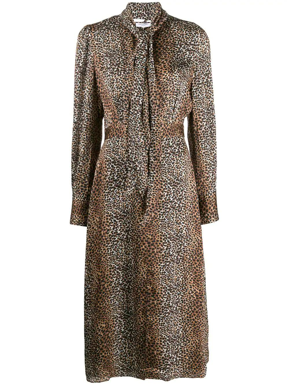 Calanne Animal Print Keyhole Long Dress