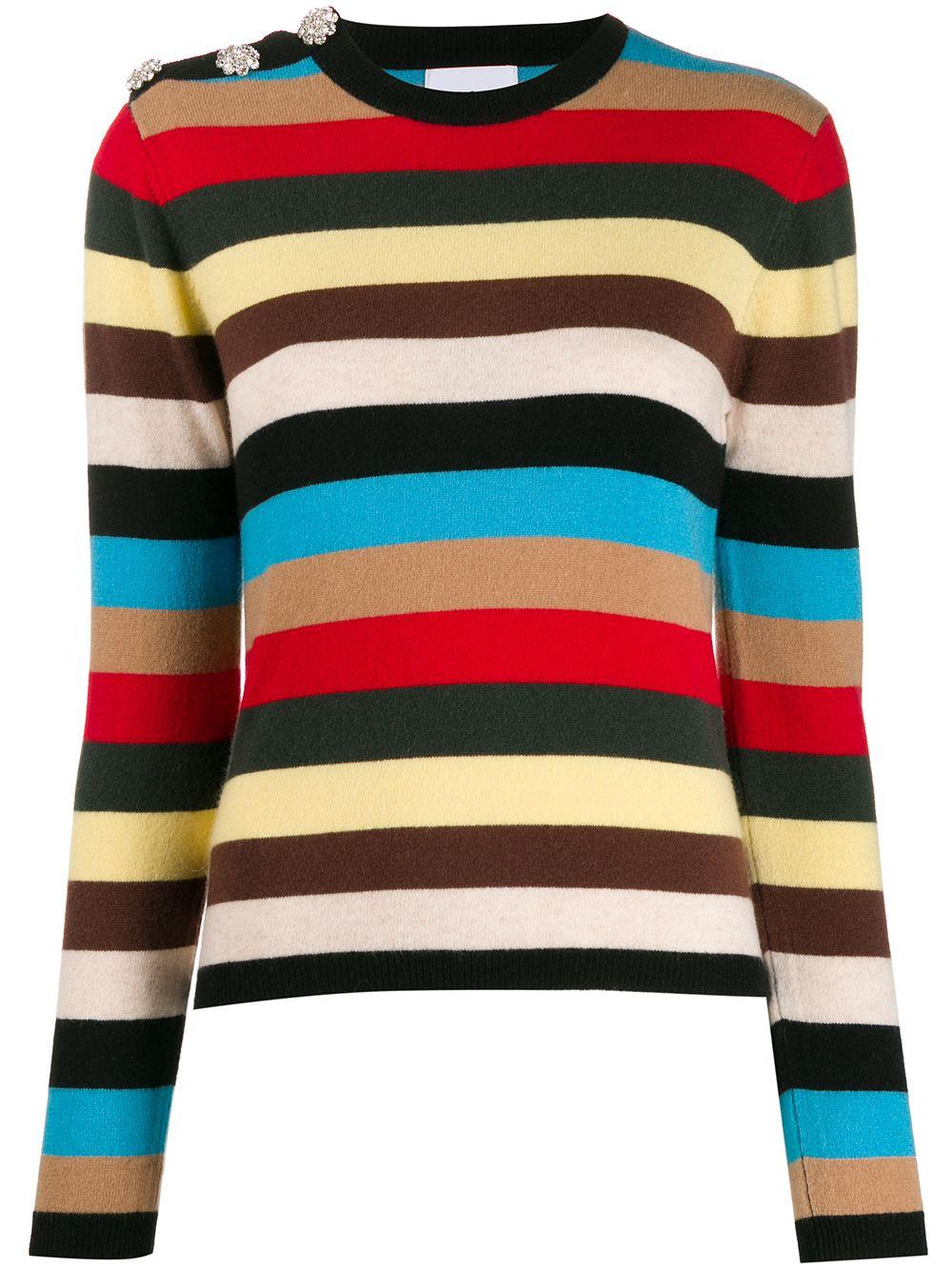 Cashmere Multi Stripe Shoulder Button Sweater