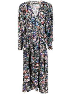 Long Sleeve V-Neck Stretch Silk Printed Dress
