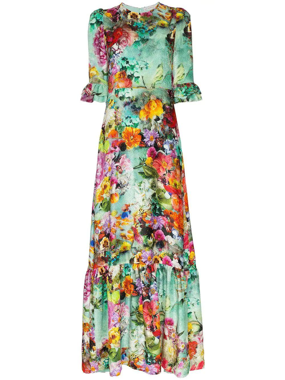 Millais Long Floral Dress With Ruffle Cuff Item # MD056