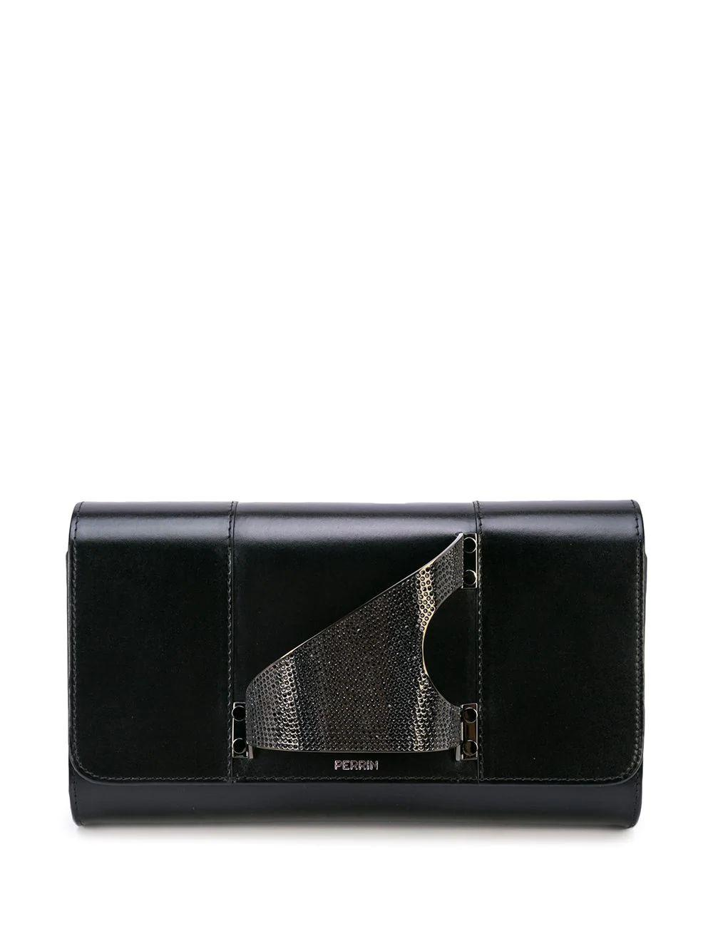 L'Eiffel Leather Clutch With Strass Ruthenium