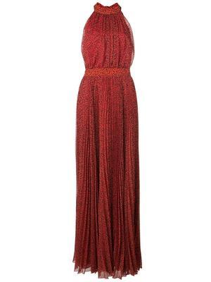 Kelissa Halter Pleat Maxi Dress