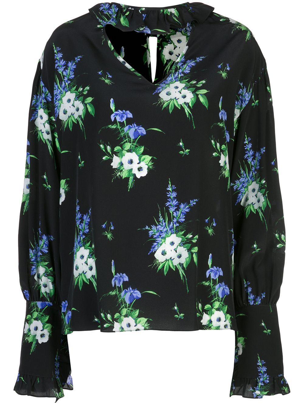 Floral Choker Neck Ruffle Collar V-Neck
