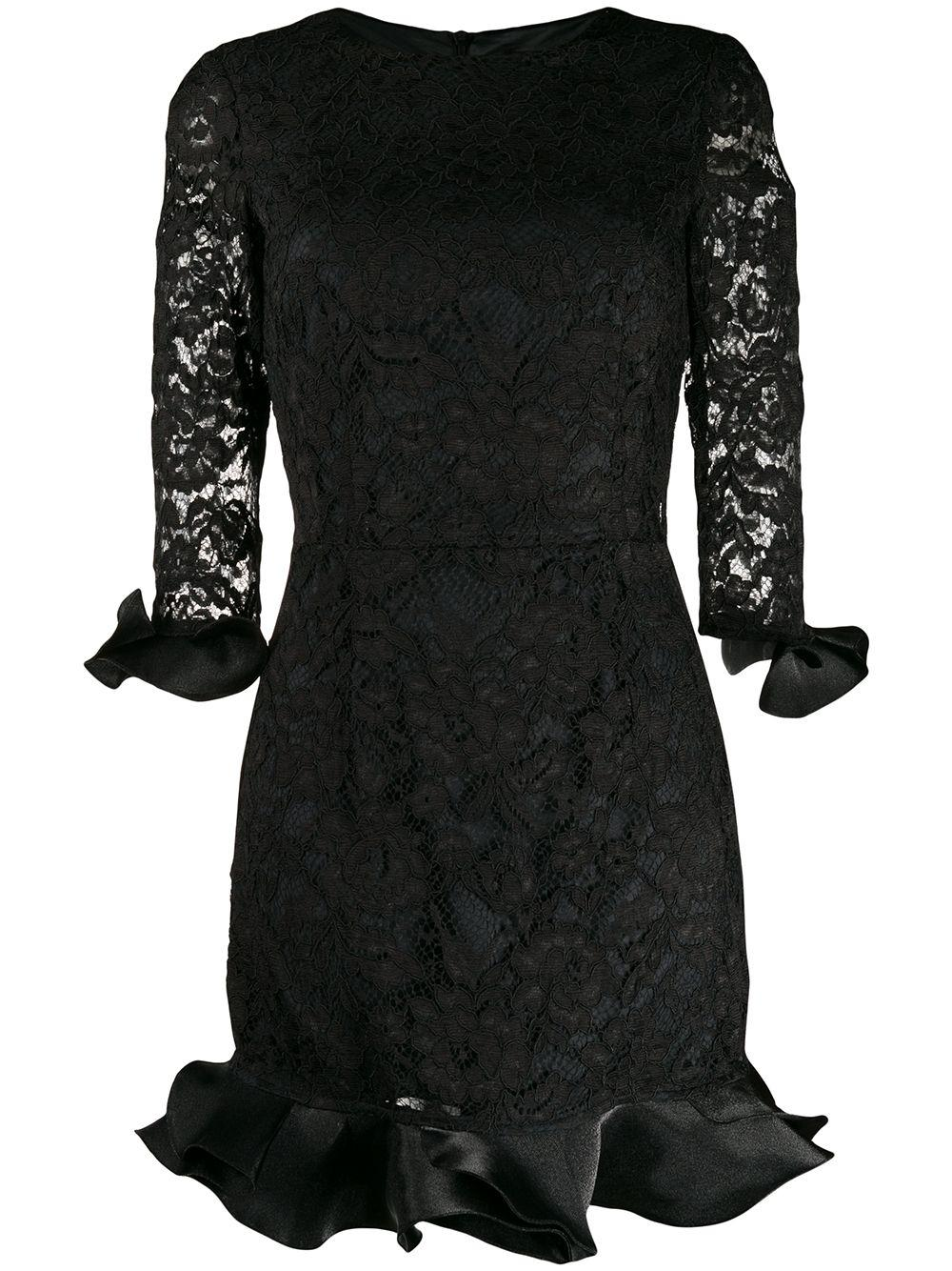 Elbow Sleeve Lace Dress With Ruffle Detail