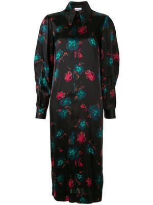 Floral Print Silk Stretch Satin Midi Dress