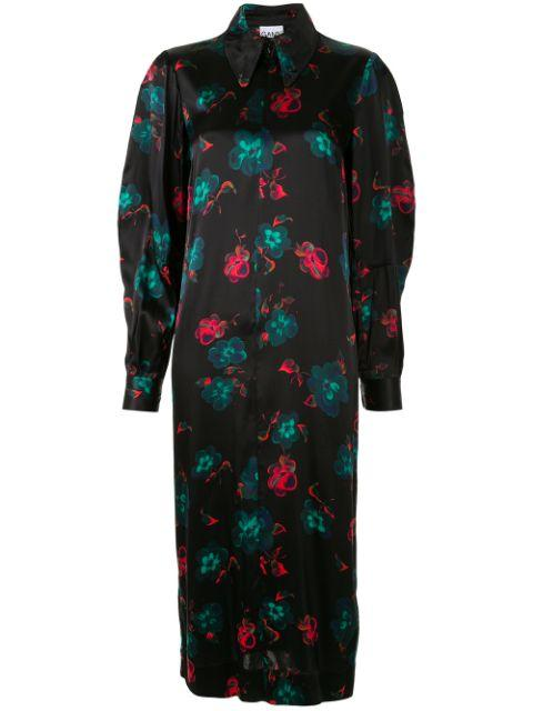 Floral Print Silk Stretch Satin Midi Dress