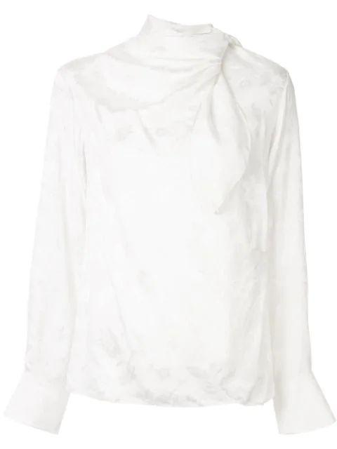 Washed Silk Flower Blouse With Neck Tie Item # CHC19WHT49035