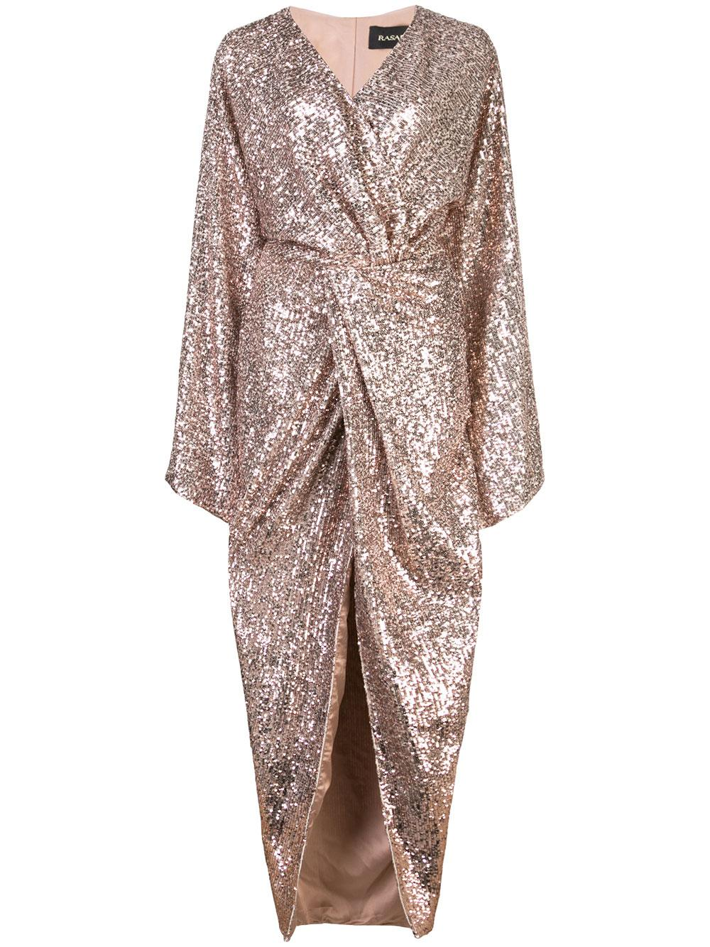 Twisted Front Sequin Gown