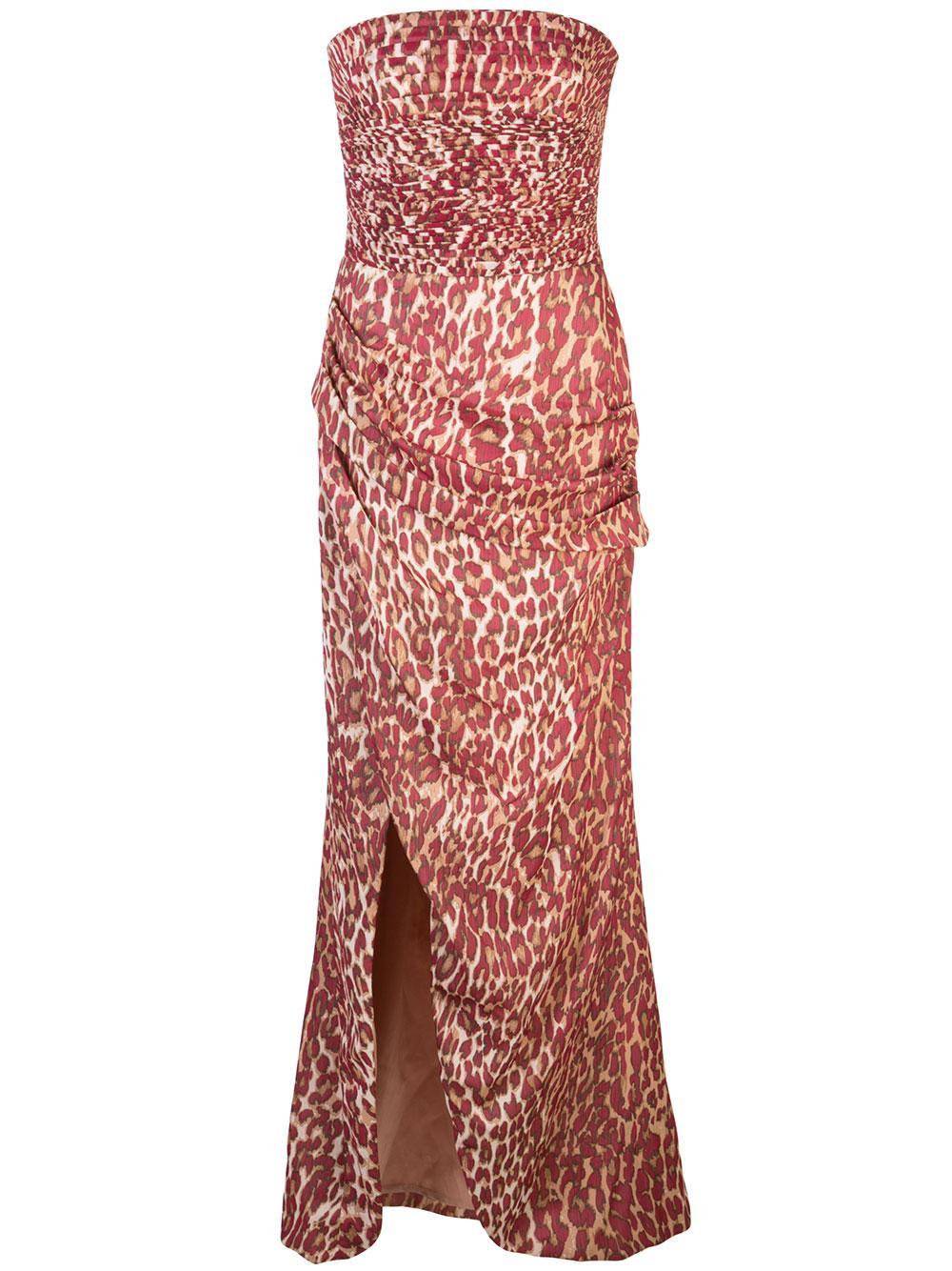 Draped Leopard Chiffon Corset Gown