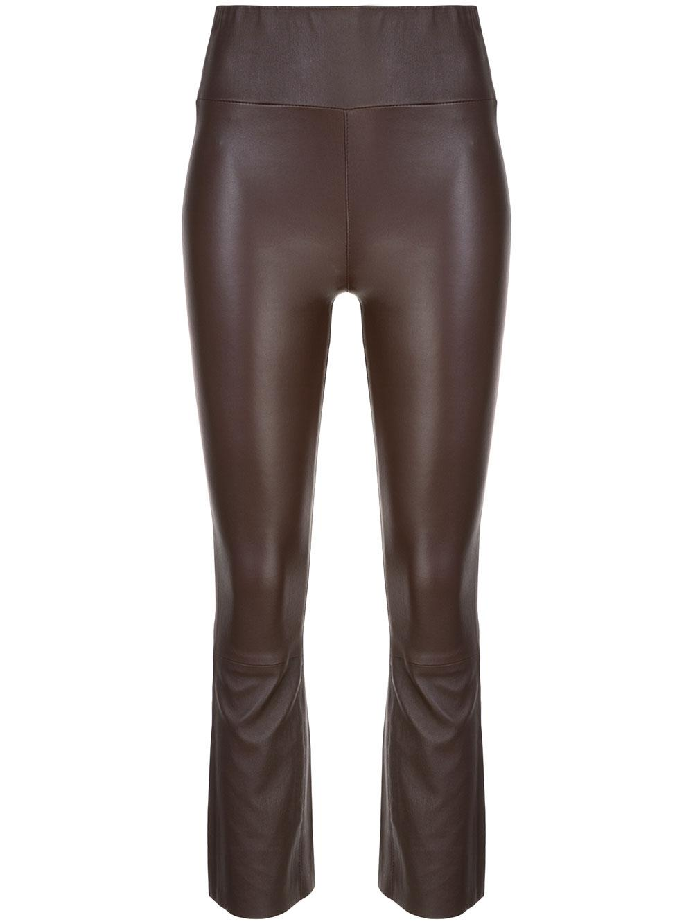 Leather High Waist Crop Flare Legging