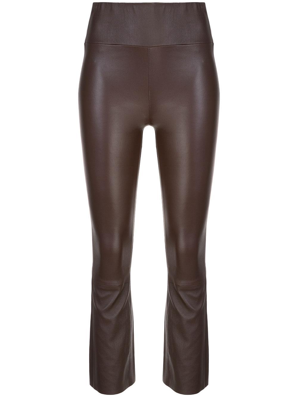 Leather High Waist Crop Flare Legging