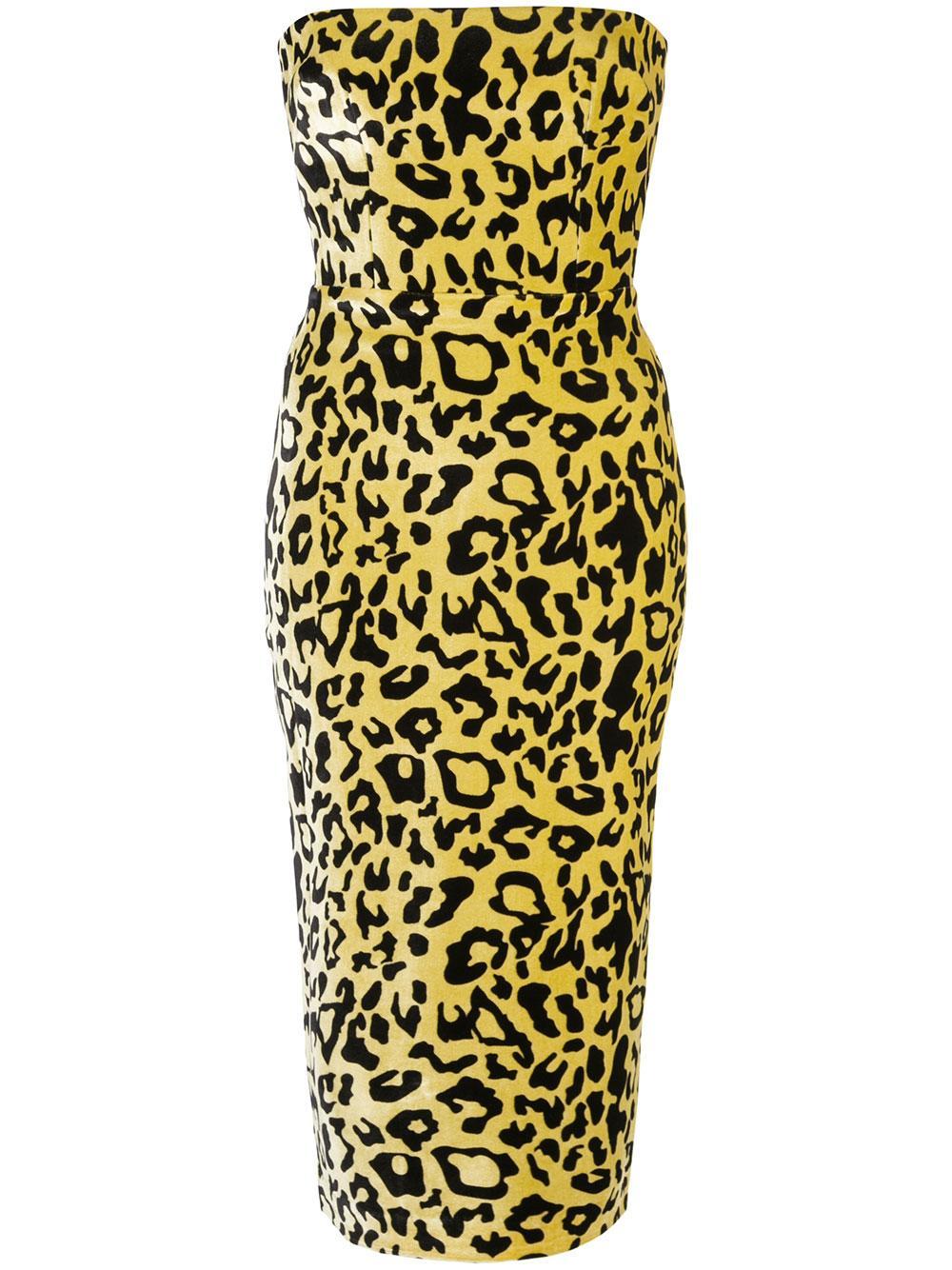 Nolan Velvet Leopard Strapless Dress