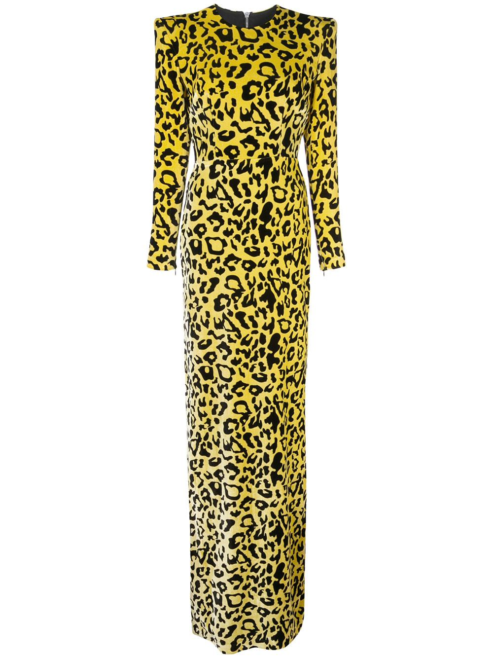 Cole Velvet Leopard Long Sleeve Column Gown