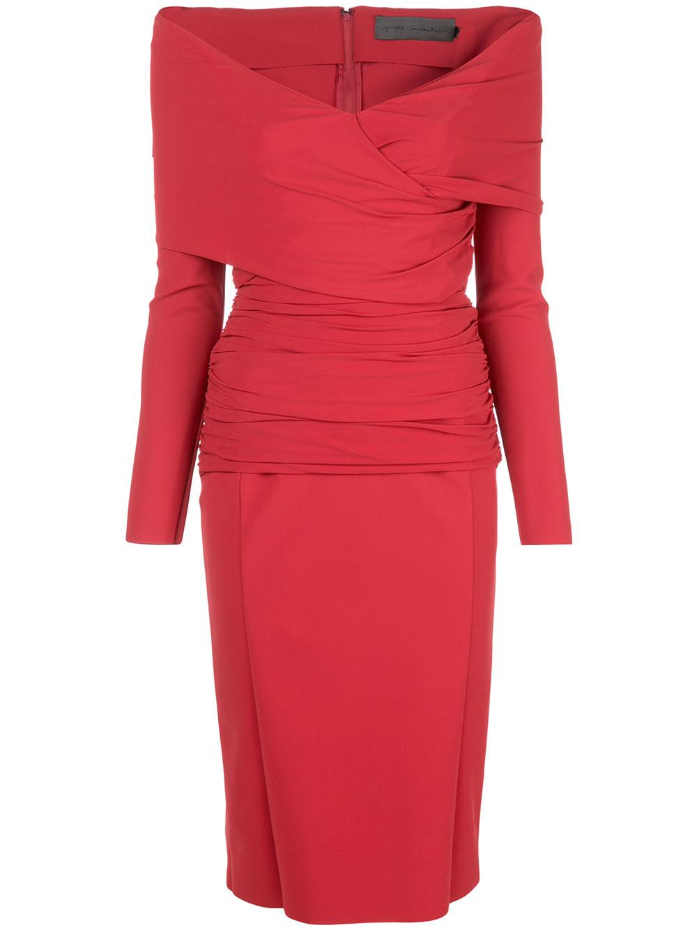 Long Sleeve Off The Shoulder Ruched Sheath Dress Item # FORTUNATUS