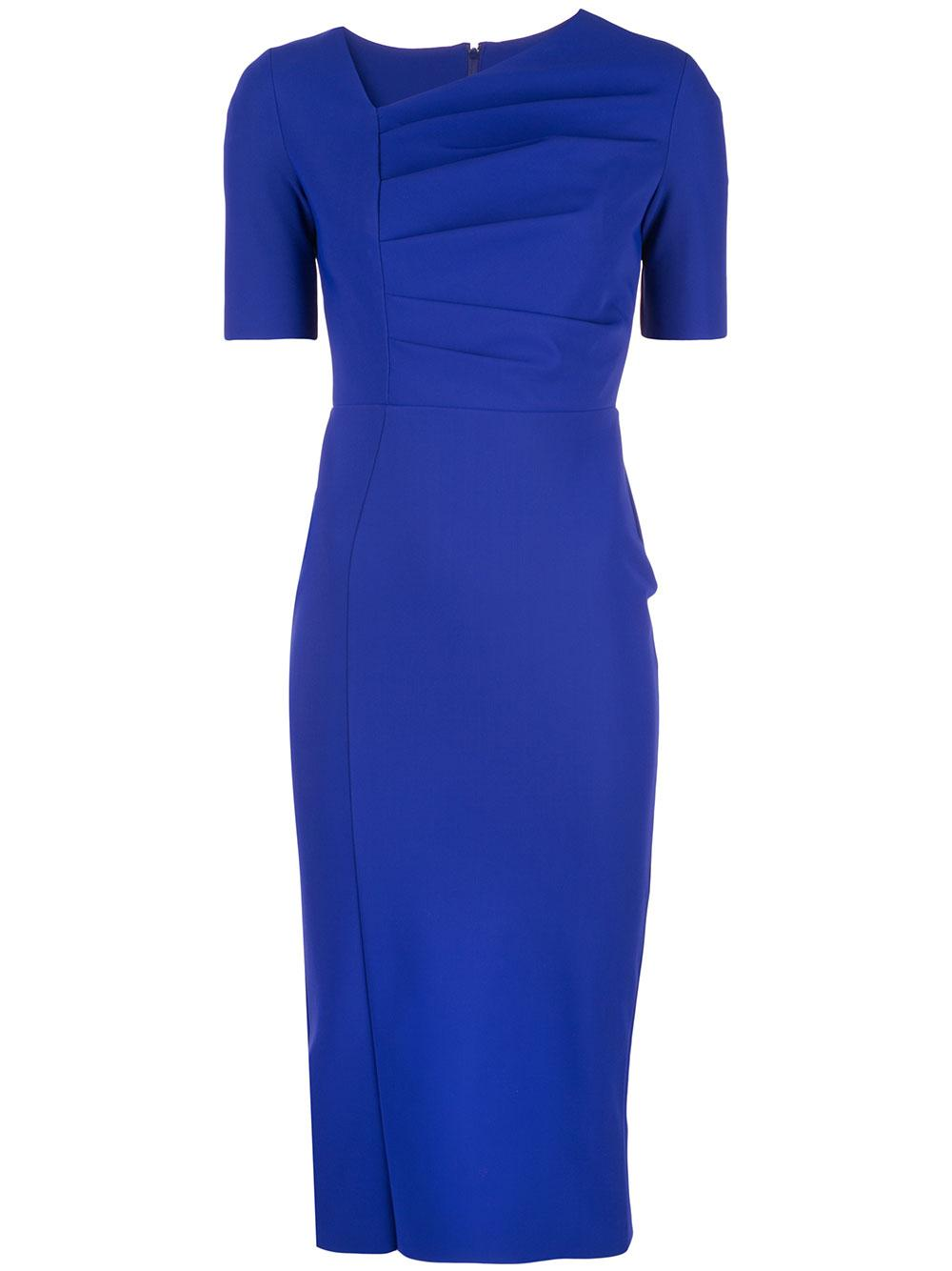 Short Sleeve Side V Ruched Sheath Dress