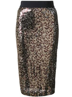 Long Sequin Leopard Pencil Skirt