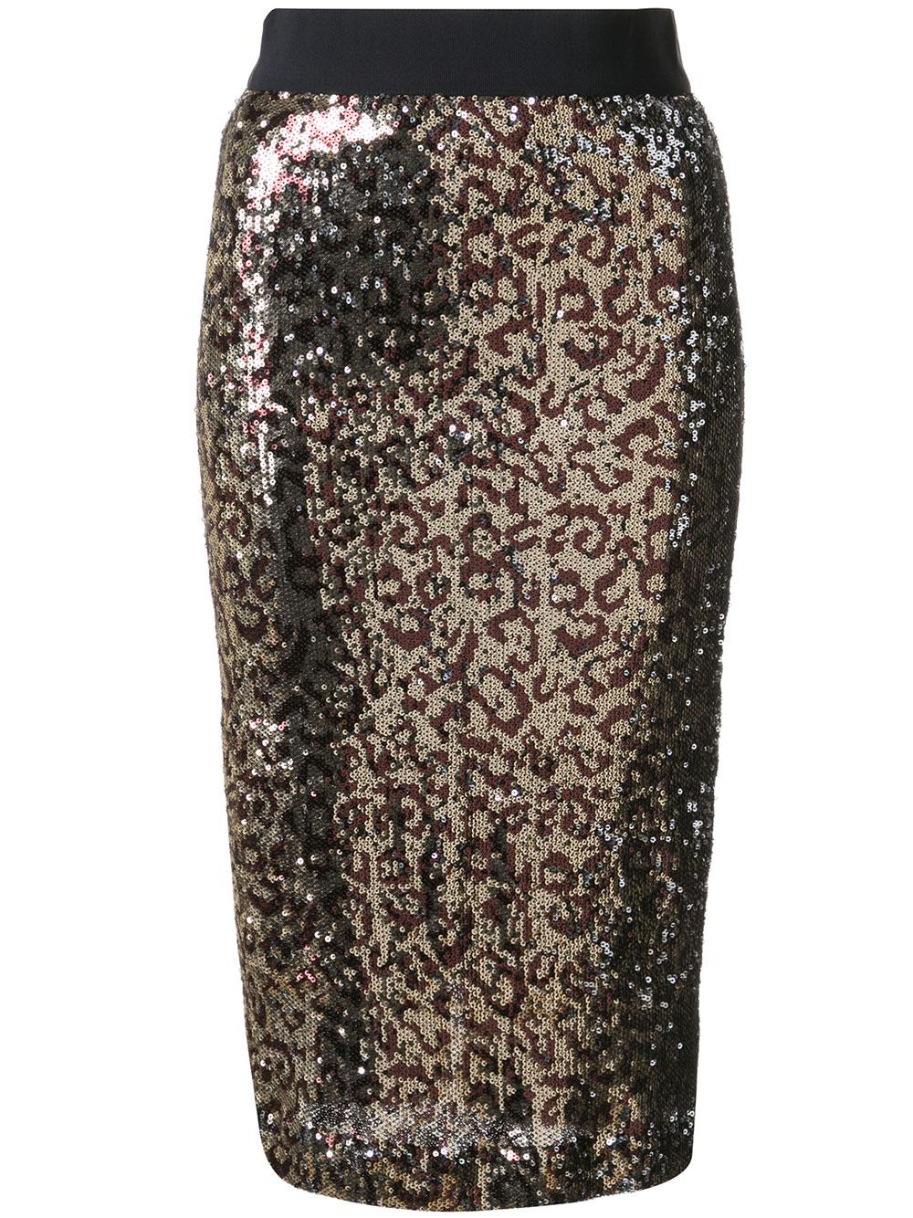 Long Sequin Leopard Pencil Skirt