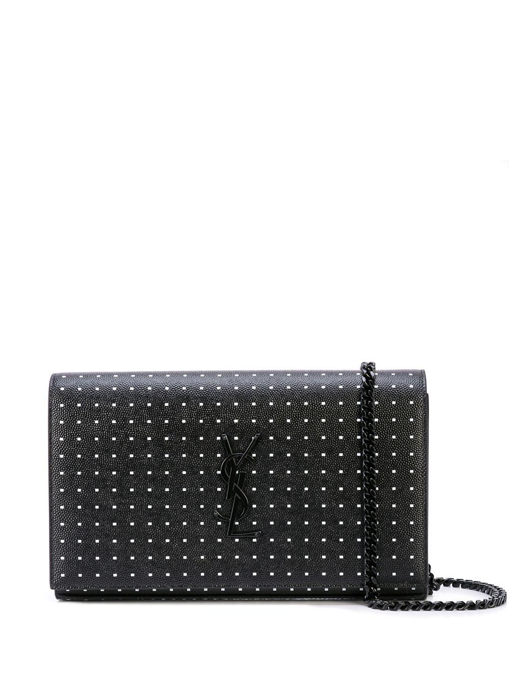 Wallet on a Chain Leather Bag With Dots