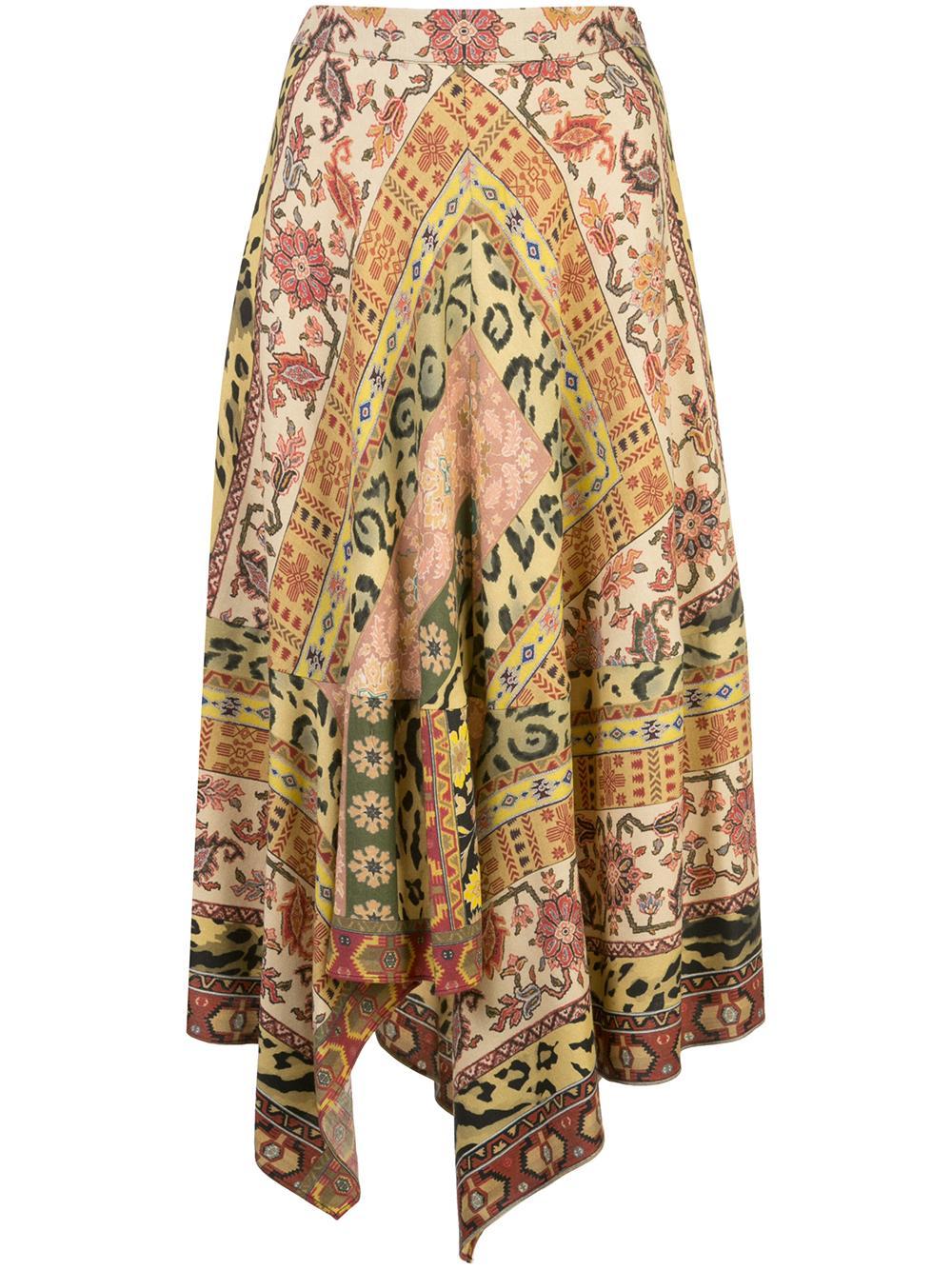 Scarf Hem Multi Print Skirt