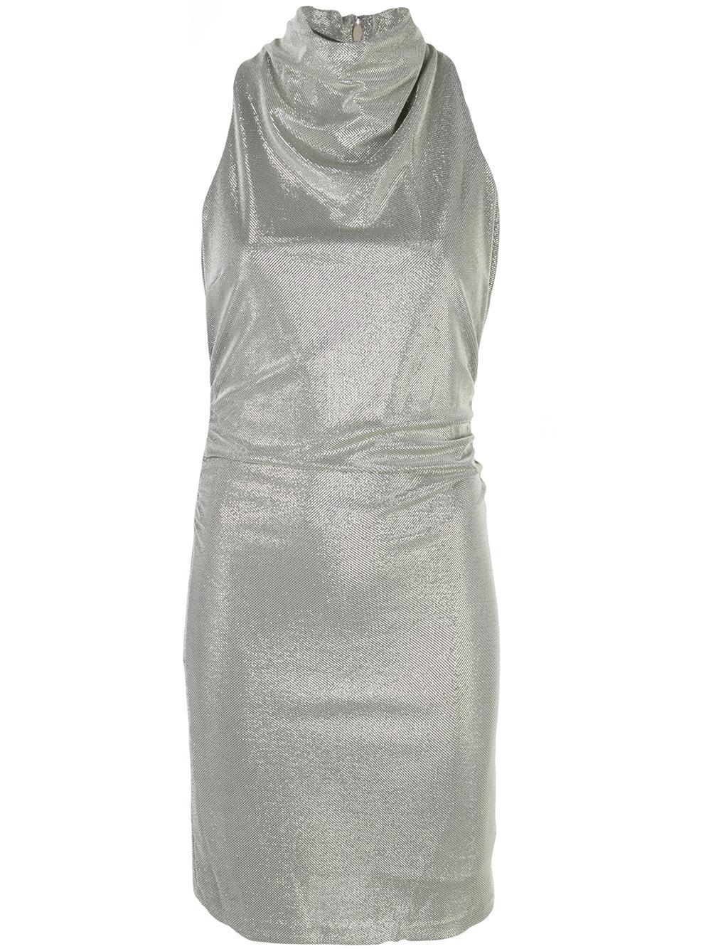 Draped Mock Neck Metallic Knit Dress Item # MKM153064