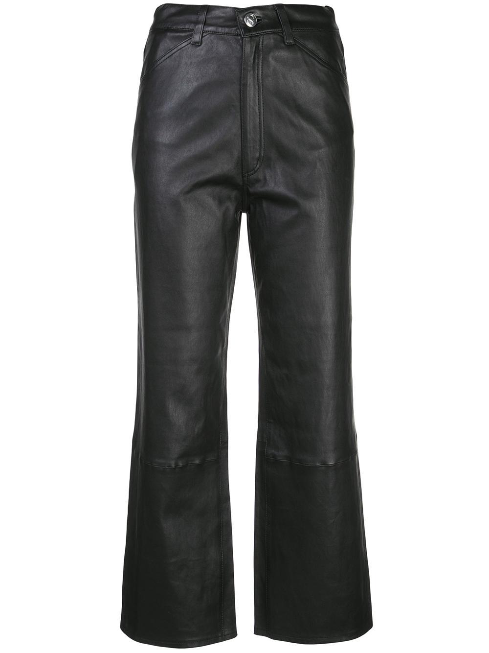 Leather 6 Pkt Straight Leg Crop