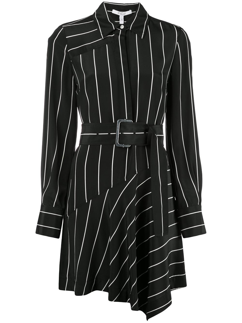 Long Sleeve Belted Asymmetrical Shirt Dress
